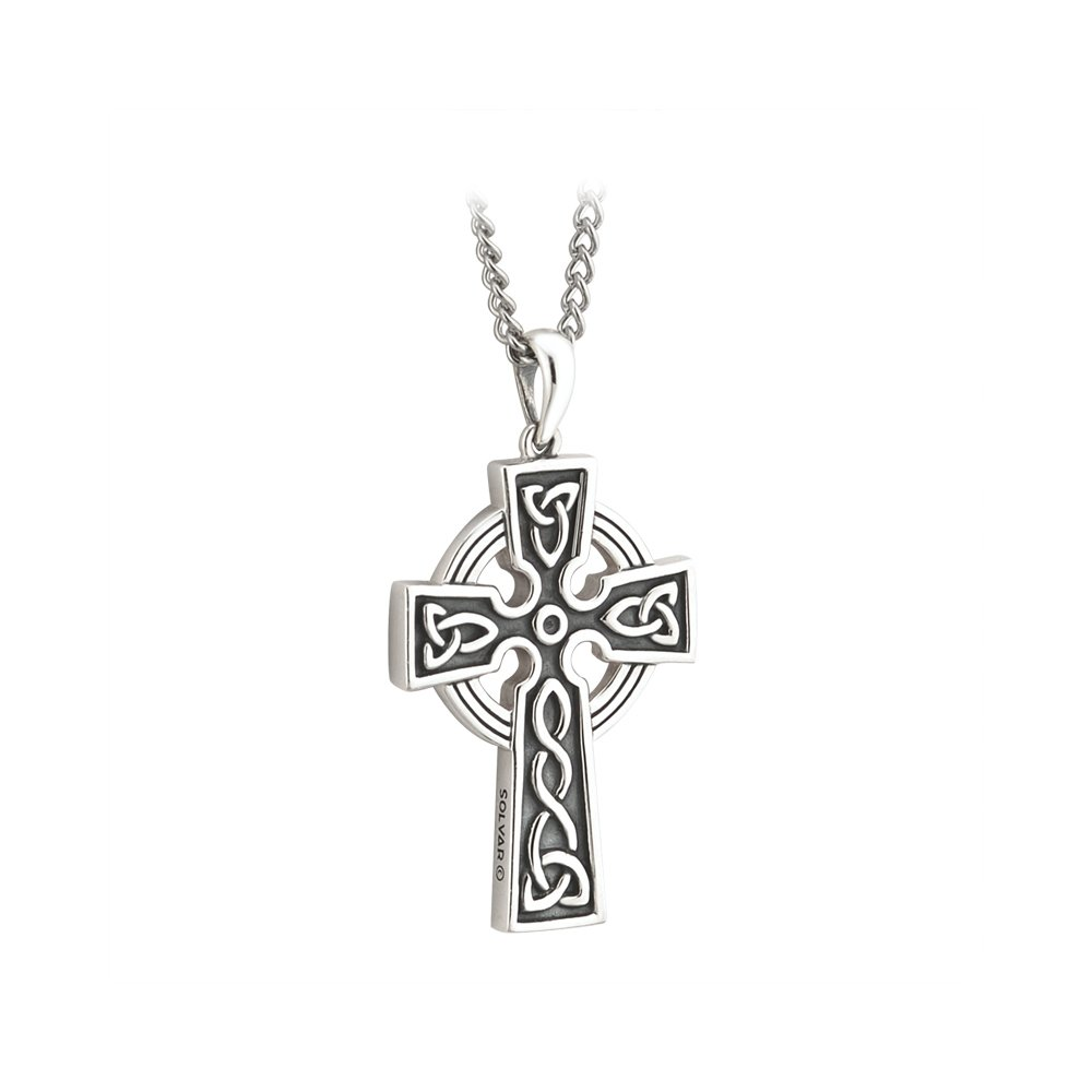 Celtic Cross Necklace Mens Sterling Silver 2 Sided Irish Made