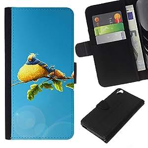 KLONGSHOP // Tirón de la caja Cartera de cuero con ranuras para tarjetas - Familia linda del pájaro - HTC Desire 820 //