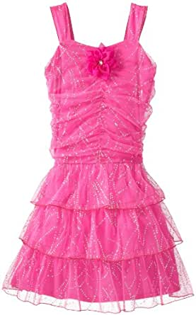 Amy Byer Big Girls' Plus-Size Glitter Tier Dress, Pink, 16.5