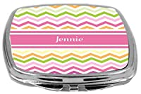Rikki Knight Pink Chevron Name Design Compact Mirror, Jennie, 3 Ounce