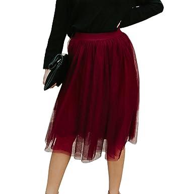 be449ff67884 ZIYOU Damen Mode Rock, Vintage Hohe Taille Einfarbig Knielanger ...