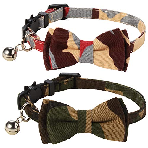 LaReine Pack of 2 Safety Breakaway Bowtie Cat Collars with Bell - Camouflage