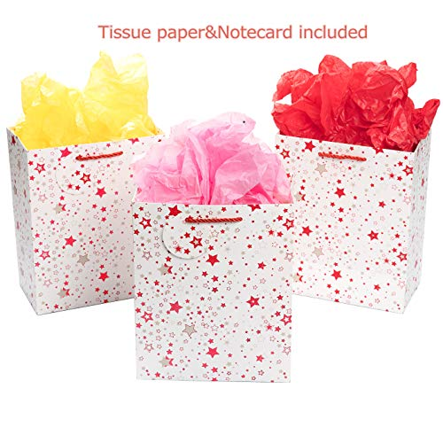 (YuSang Middle Gift Bags with Tissue Paper and Tags,Cord Handles(White Glitter Star,3 Pack))