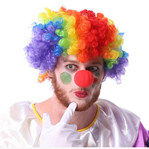 JH child women Men's Rainbow Afro Clown Wig for Sports Fan Cheerleaders Carnival Cosplay Halloween + Red Clown (Afro Rainbow Wig)