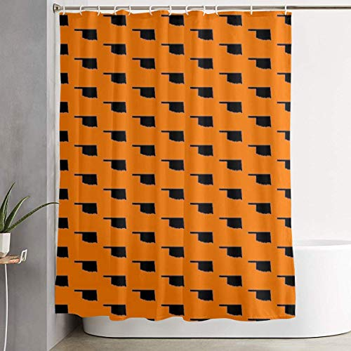 Jesso Oklahoma State Orange Shower Curtain with Hooks 60 70 Inches Liner Polyester Bathroom Curtain for Shower stall