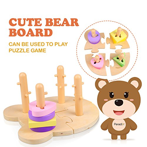 Peradix Wooden Puzzle Toddler Educational Toys Shapes Sorter Sorting Stacking Baby Toys Preschool Geometric Blocks Stacking Games Kids by Peradix (Image #2)
