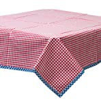 Freckled Sage Oilcloth Tablecloth Gingham Red with Blue Gingham Trim You Pick the Size
