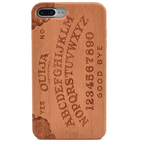 iPhone 7 Plus Wood Case Ouija Board Spooky Handmade Carving Real Wood Case Wooden Case Cover with Soft TPU Back for Apple iPhone 7 Plus