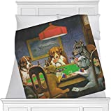 Dogs Playing Poker by C.M.Coolidge Fleece Blanket - Twin / Full - 80''x60'' - Single Sided