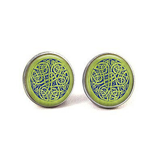 Celtic Knot Earrings - Blue Celtic Knot on Spring Green Background - Irish Jewellery - British Isles Earrings - Celt Jewellery]()