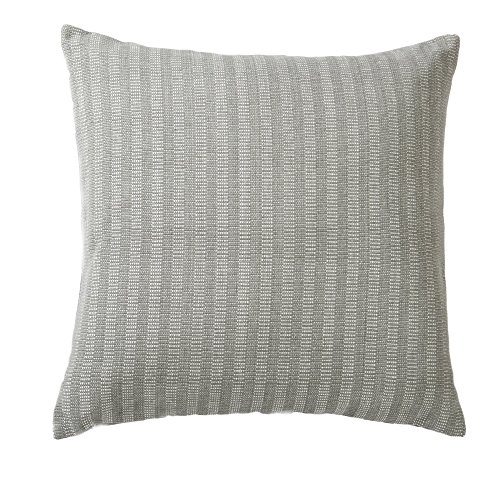 Indoor/Outdoor Decorative Pillow 18x18. Solid Color on One Side, Dotted on the Other. Jacquard Pattern. Rina Collection By Great Bay Home. (Grey Morning)