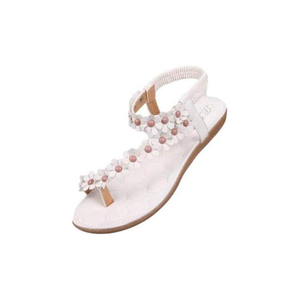 Sandalen Damen Sommer Elegant Bouml;hmen Blumen-Perlen Flip-Flop Schuhe Flache Sandalen Schuhe Mode Strandschuhe Zehentrenner Pantoletten Riemchensandalen  40 EU B
