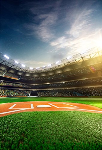 CSFOTO 4x6ft Background for Baseball Field Professional Baseball Grand Arena in Sunlight Photography Backdrop Stadium Sports Competition Kid Children Portrait Photo Studio Props Polyester Wallpaper