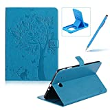 Flip Case for Samsung Galaxy Tab E 9.6 inch SM-T560,Smart Leather Cover for Samsung Galaxy Tab E 9.6 inch SM-T560,Herzzer Retro Pretty Tree Butterfly Cat Design Wallet Folio Case Full Body PU Leather Protective Stand Cover with Inner Soft Silicone Shell for Samsung Galaxy Tab E 9.6 inch SM-T560 + 1 x Free Blue Cellphone Kickstand + 1 x Free Blue Stylus Pen - Blue
