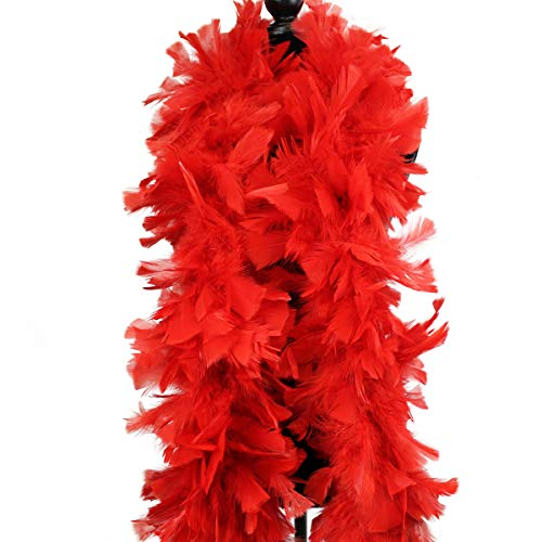Ws&Wt 2 Yards 150g Large Fluffy Turkey Ruff Feather Boa for Adult Halloween Cosplay Costume Accessory Holiday Decors-Red
