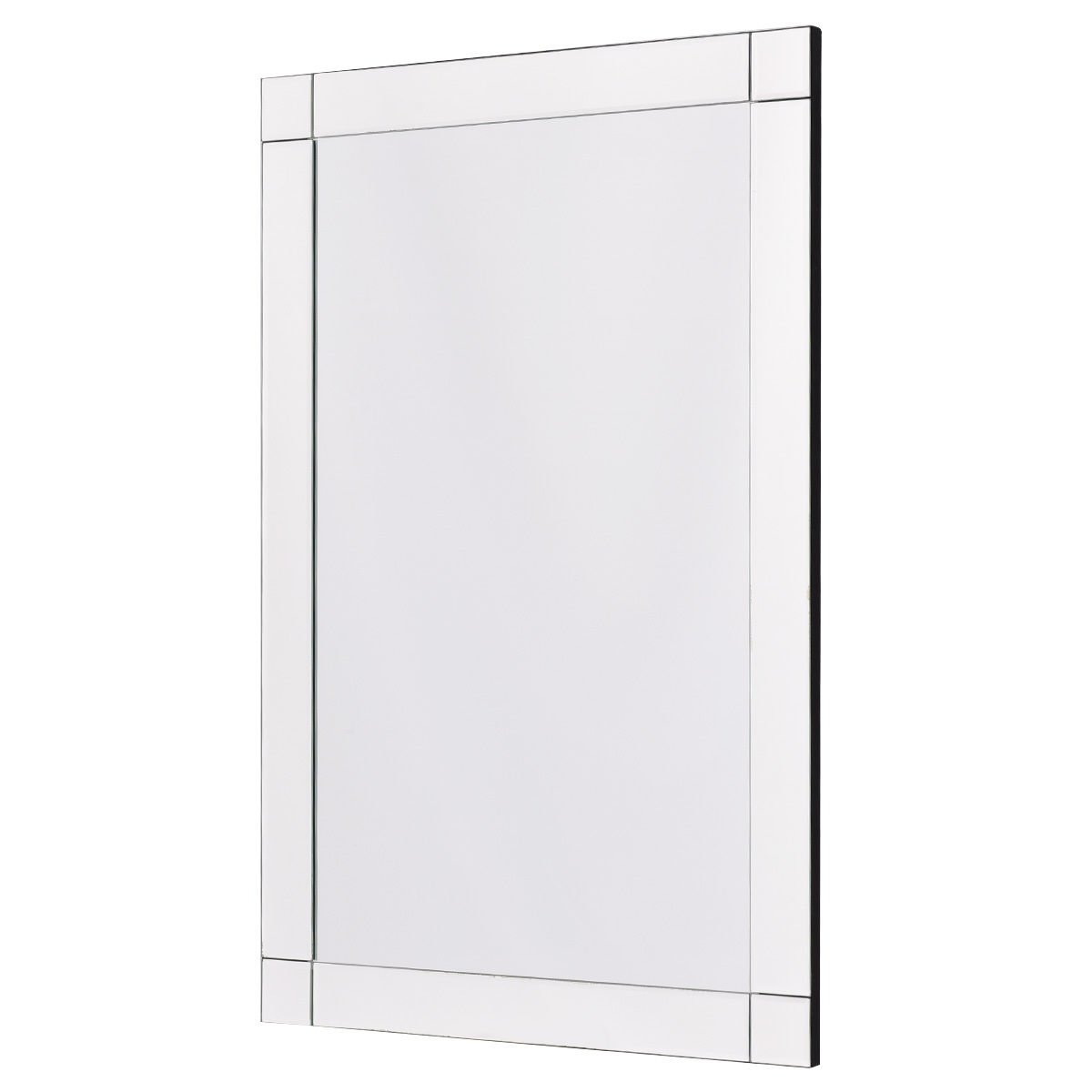 TANGKULA Wall Mirror Vanity Mirror Home Bathroom Office Bedroom Frameless Hanged Rectangle Make Up Mirror (Wall Mounted Rectangular)