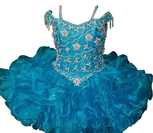 YIPEISHA Little Girls' Beaded Back Zipper Baby Cupcake Party Pageant Dresses 8 US Blue