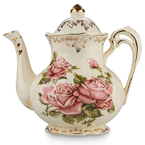 Vintage Floral Porcelain - Rose Pattern Ceramic Tea Pot, STARVAST Vintage Floral Pottery Teapot Ivory 28 Oz Large Porcelain Decorative Teapot, Collections Idea (Capacity: 800 ml)