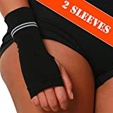 Compression Wrist Support Sleeve - Relieve Carpel Tunnel, Wrist Pain - Best Wrist Support - Improve Circulation and Support Wrist (Black - 2 Pack, L)
