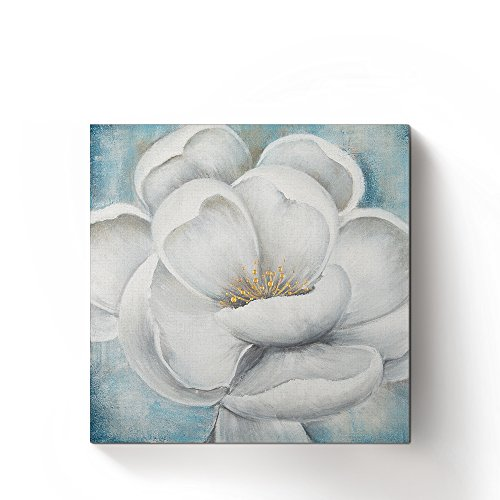 Still Floral Paintings Life - Hand Painted Vintage Flowers Oil Paintings Prints Framed Floral Canvas Wall Art Still Life Artworks for Modern Home Decoration,Ready to Hang,Square(Gold Bud&White&Blue)