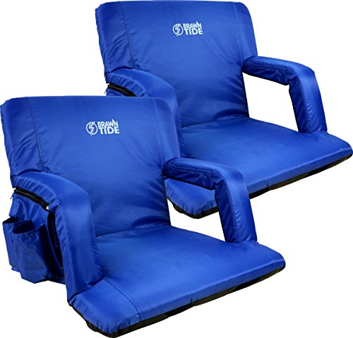 Brawntide Portable Stadium Seat Chair - Extra Thick Padding, Adjustable Bleacher Strap, Shoulder Straps, 4 Pockets, Water Resistant, Ideal for Sporting Events, Beaches, Parks, Camping (Blue, 2 Pack) ()