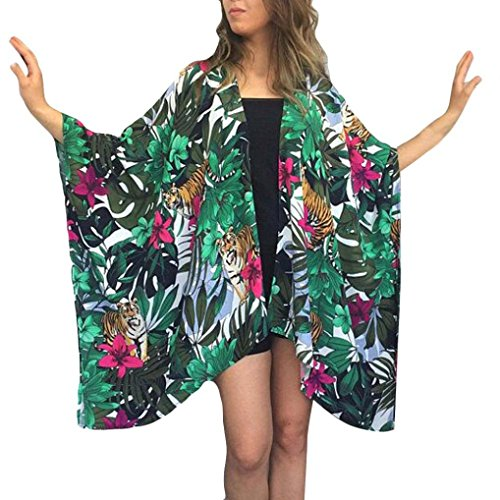 Sikye Loose Bikini Cover up Swimwear Beach Dress Tiger Leaf Print Chiffon Kimono Cardigan Blouse Tops (Green, XL)