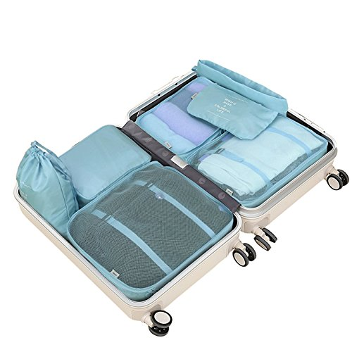 Travel Packing Cubes , BiKooLi 8 set Luggage Organizer for Clothes Shoes Laundry Comestic Accessories , Light Blue - Rick Steves Suitcase