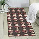 GDBADY Flower Skull Domestic Sitting Room Bedroom Domestic Carpet
