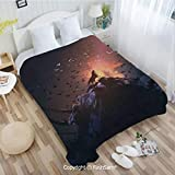 PUTIEN Super Soft Blankets for Couch Bed Birthday Howling Wolf on Rock Surrounded by Bats Birds Scary Dog Wild Life Animals Art Perfect for Couch Sofa or Bed(59Wx78L)