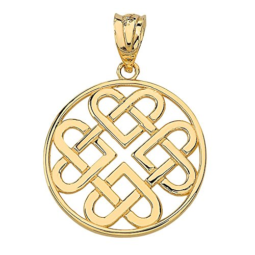 (Women's 14k Yellow Gold Endless Celtic Knot Heart Infinity Charm)