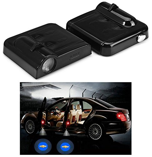 Fangfei 2x Wireless Laser Projector Car Door Step Courtesy Welcome Lights for Chevrolet Chevy Puddle Ghost Shadow LED Lights(For Chevrolet)