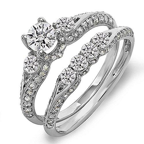 Dazzlingrock Collection 1.45 Carat (ctw) 10k Round Diamond Ladies 3 Stone Bridal Engagement Ring Set With Matching Band 1 1/2 CT, White Gold, Size - Diamond 1.45 Round Ct