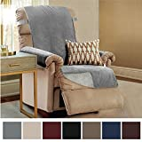 Gorilla Grip Original Slip-Resistant Furniture Protector, Suede-Like Material, Slip Reducing Backing, Two 2'' Thick Straps, Perfect for Kids, Dogs, Cats, Pets, Sofa, and Couch (Recliner: Charcoal)