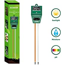 Sonkir Soil pH Meter, MS02 3-in-1 Soil Moisture/Light/pH Tester Gardening Tool Kits for Plant Care, Great for Garden, Lawn, Farm, Indoor & Outdoor Use (Green)