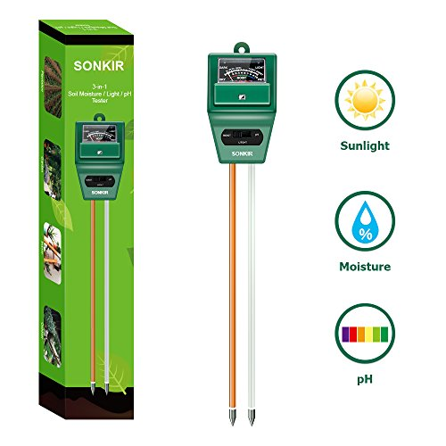 (Sonkir Soil pH Meter, MS02 3-in-1 Soil Moisture/Light/pH Tester Gardening Tool Kits for Plant Care, Great for Garden, Lawn, Farm, Indoor & Outdoor Use (Green))