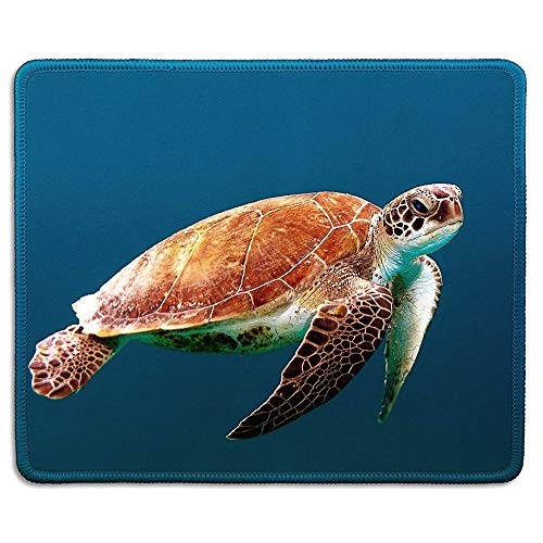 dealzEpic - Animal Art Mousepad - Natural Rubber Mouse Pad Printed with Big Sea Turtle Swimming in The Ocean - Stitched Edges - 9.5x7.9 inches