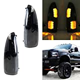 iJDMTOY (2) Smoked Lens LED Side Mirror Marker Lights Set For 2003-2007 Ford F250 F350 Superduty, 2000-2005 Ford Excursion