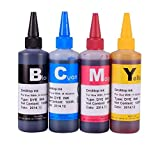 Gigablock 4 color Refill Ink Bottle Set - 4 x 100ml for CIS/CISS or refillable cartridges using Epson Stylus Photo CX7400 CX8400 CX5000 NX400 (Related Cartridge # :T069120, T069220, T069320, T069420)