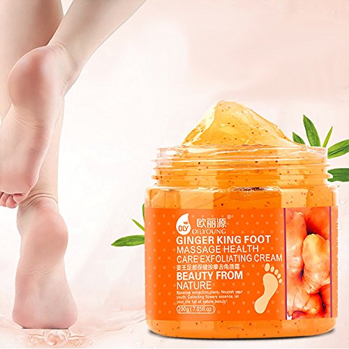 Jinjin Foot Cream Oliyoung Massage Scrub Feet Cream Moisturizing Whitening Pedicure Exfoliating Feet Skin Care (Orange)