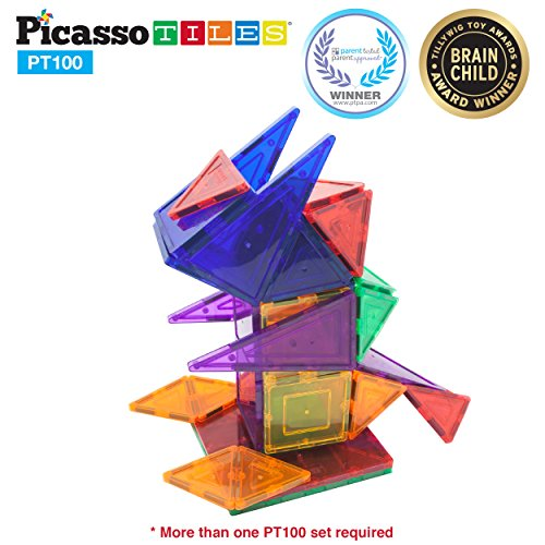 PicassoTiles 100 Piece Set 100pcs Magnet Building Tiles Clear Magnetic 3D Building (Construction Block)