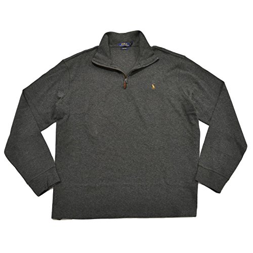 (Polo Ralph Lauren Mens Monogram Mock Neck 1/2 Zip Sweater Gray S)