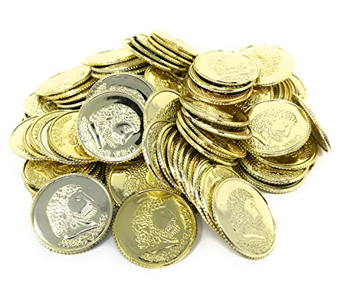 Funiverse Bulk 500 Play Plastic Gold Coin Jumbo Pack - Not Real Coins (Fake Roman Coins)