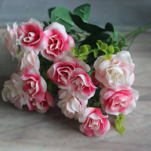 silk flowers bulk 15 heads Spring Fake Silk Flowers Bouquet Artificial Rose Bridal Floral Decor Plant Flower Arrangement silk flowers arrangements (Pink) (Large Clutch Vine Wallet)