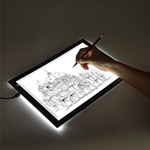 AGPTEK A4 Ultra-Thin Portable LED Artcraft Tracing Light Box Power Cable Dimmable Brightness Tatoo Pad Aniamtion, Sketching, Designing, X-ray Viewing W/USB Adapter (PSE Approval)