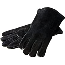 """Lodge 14.5"""" Leather Outdoor Cooking  Gloves -  Heat Resistant Gloves for Cast Iron Cooking"""