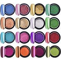 Cuasting 16 Potten Chrome Nagel Poeder Metallic Nagel Art Poeder Spiegel Effect Manicure Pigment met 16 Stks Oogschaduw…