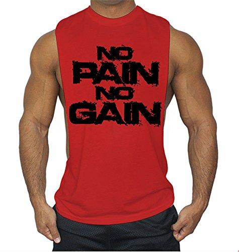 2fa444ea37485 JoofEric No Pain No Gain Men s Muscle Cut Stringer Workout T-Shirt Gym  Bodybuilding Tank