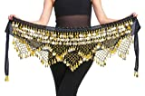 Belly Dance Belt Gold Women Belly Dance Accessories Performance Outfit Wrap Hip Scarf Black & Golden