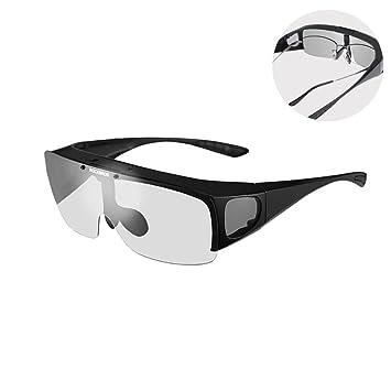 RockBros überbrille Gafas de sol polarizado para graduadas (Miopía Gafas Protección UV400, Schwary
