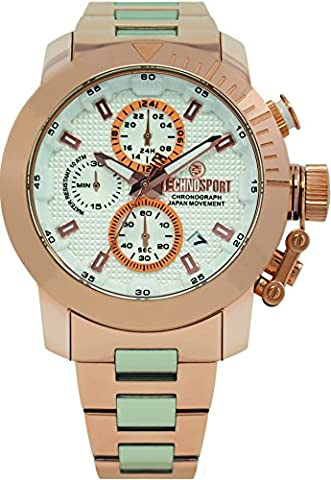 Technosport TS-231-10 Unisex Rose Gold and Stainless Steel Band, Stainless Steel Bezel 38mm Case Japan Movement with 3-Dial Chronograph (Gold Mercer Watch)